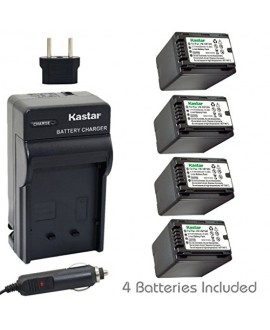 Kastar Battery (4-Pack) and Charger Kit for Panasonic VW-VBT380 and HC-V110 V130 V160 V180 HC-V201 V210 V250 HC-V380 HC-V510 V520 V550 HC-V710 V720 V750 V770 HC-VX870 HC-VX981 HC-W580 W850 HC-WXF991