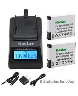 Kastar Ultra Fast Charger(3X faster) Kit and AHDBT-002 Battery (2-Pack) for GoPro AHDBT-001, AHDBT-002 work with GoPro HD HERO1, HERO2, GoPro Original HD HERO Cameras