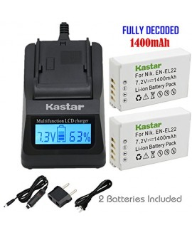 Kastar Ultra Fast Charger(3X faster) Kit and Battery (2-Pack) for Nikon EN-EL22, MH-29 work with Nikon 1 J4, Nikon 1 S2 Cameras [Over 3x faster than a normal charger with portable USB charge function]