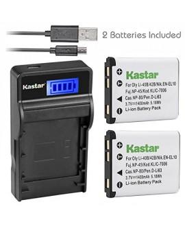 Kastar Battery (X2) & SLIM LCD Charger for Olympus LI-42B LI-40B, Fujifilm NP-45, Nikon EN-EL10, Kodak KLIC-7006 K7006, Casio NP-80 CNP80, Pentax D-Li63, D-Li108, Ricoh DS-6365 Battery.