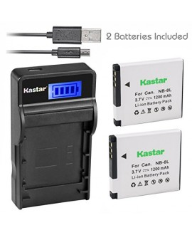 Kastar Battery (X2) & SLIM LCD Charger for Canon NB-8L, NB8L, CB-2LAE and Canon PowerShot A2200, PowerShot A3000 IS, PowerShot A3100 IS, PowerShot A3200 IS, PowerShot A3300 IS Cameras