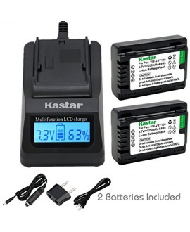 Kastar Ultra Fast Charger(3X faster) Kit and VW-VBY100 Battery (2-Pack) for Panasonic VW-VBY100 and Panasonic HC-V110 V110K V110G V201 V201K Cameras [with portable USB charge function]