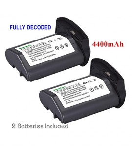 [Full Coded] Kastar LP-E4 Battery (2-Pack) 11.1V 4400mAh 48.4Wh for Canon LP-E4 LPE4 Li-ion Battery work with Canon EOS-1D C, EOS-1D Mark III, EOS-1Ds Mark III, EOS-1D Mark IV Cameras