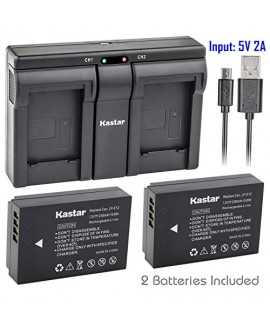 Kastar LPE12 2x Battery + USB Dual Charger for Canon LP-E12 and Canon EOS 100D, EOS Rebel SL1, EOS M Camera System & Canon LPE12 Grip
