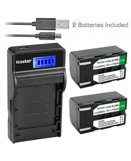 Kastar Battery (X2) & SLIM LCD Charger for Samsung SB-LSM160 and SC-D351 VP-D351 VP-D351i VP-D352 VP-D352i VP-D353 VP-D353i VP-D354 VP-D354i VP-D647 VP-D651 VP-D653 VP-DC161 VP-DC161i DC163 DC163i