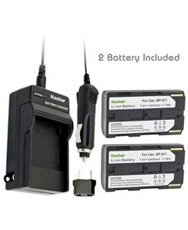 Kastar BP911 Battery (2-Pack) + Charger for Canon BP-911, BP-911K, BP-914, BP-915 and Canon ES6500V, ES7000es, ES7000V, ES8000V, ES8100V, ES8200V, ES8400V, ES8600 Camera