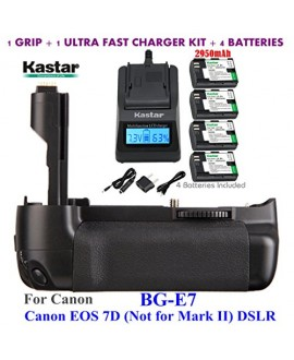 Kastar Pro Multi-Power Vertical Battery Grip (Replacement for BG-E7) + 4x LP-E6 Replacement Batteries + Ultra Fast Charger Kit for Canon EOS 7D (Not for Mark II) Digital SLR Camera