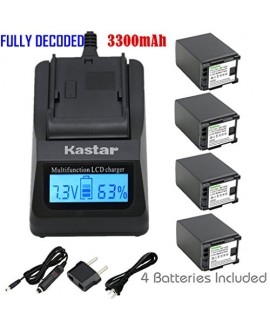 Kastar Ultra Fast Charger Kit + BP-828 Battery (4-Pack) for Canon BP-828 and Canon VIXIA HF G30, XA20, XA25 Camcorders [Over 3x faster than a normal charger with portable USB charge function]