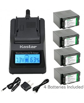 Kastar Ultra Fast Charger(3X faster) Kit and Battery (4-Pack) for Panasonic CGR-D54S, CGA-D54, VSK0581 and Panasonic AG-3DA1, AG-AC90, AG-DVC30, AG-DVC32, AG-DVC33, AG-DVC60, AG-DVC62, AG-DVC63, AG-DVC80, AG-DVC180, AG-DVX100, AG-DVX102, AG-HPX170, AG-HPX