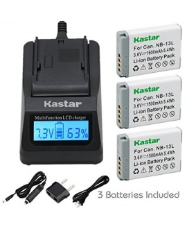 [Fully Decoded] Kastar NB-13L Battery (3-Pack) and Ultra Fast Charger for Canon NB-13L, NB13L and Canon PowerShot G5 X, Canon PowerShot G7 X, Canon PowerShot G9 X, Canon SX620 HS, Canon SX720 HS