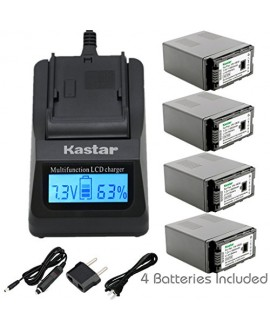 Kastar Ultra Fast Charger(3X faster) Kit and Battery (4-Pack) for Panasonic VW-VBG6 and Panasonic AG-AC7, AG-AC130A, AG-AC160A, AF100, HMC40, HMC70, HMC80, HMC150, HMC153, HMR10, HSC1U, HDC-DX1, DX3, HS9, HS20, HS100, HS200, HS250, HS300, HS350, HS700, MD