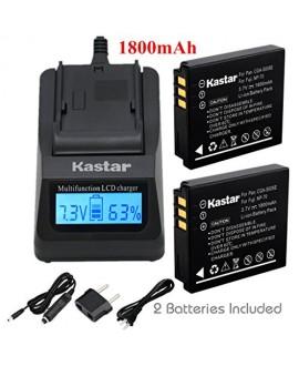 Kastar Fast Charger + Battery 2x for Panasonic Lumix CGA-S005 CGA-S005A/1B CGA-S005E CGA-S005GK DMW-BCC12 & Lumix DMC-FS1 DMC-FS2 DMC-FX01 DMC-FX07 DMC-FX1 DMC-FX3 DMC-FX180 DMC-LX1 DMC-LX3