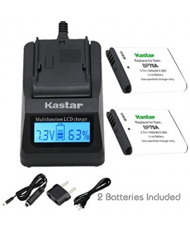 Kastar Ultra Fast Charger Kit and BP-70A Battery (2-Pack) for Samsung BP70A, EA-BP70A work with Samsung AQ100, DV150F, ES65, ES67, ES70, ES71, ES73, ES74, ES75, ES80, MV800, PL20, PL80, PL90, PL100, PL101, PL120, PL170, PL200, PL201, SL50, SL600, SL605, S