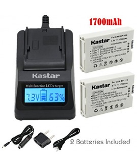 Kastar Ultra Fast Charger(3X faster) Kit and BP110 Battery (2-Pack) for Canon BP-110 and Canon VIXIA HF R20, HF R21, HF R200, HF R26, HF R28, HF R206, XF105 Cameras [with portable USB charge function]