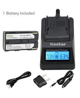 Kastar Fast Charger + BP911 Battery (1-Pack) for Canon BP-911, BP-911K, BP-914, BP-915 and Canon ES6500V, ES7000es, ES7000V, ES8000V, ES8100V, ES8200V, ES8400V, ES8600 Camera