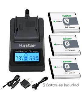 Kastar Ultra Fast Charger Kit and Battery (3-Pack) for Sony NP-BK1, BC-CSK work with Sony Bloggie MHS-CM5, MHS-PM5, Cyber-shot DSC-S750, DSC-S780, DSC-S950, DSC-S980, DSC-W180, DSC-W190, DSC-W370, Webbie MHS-PM1 Cameras [Over 3x faster than a normal charg