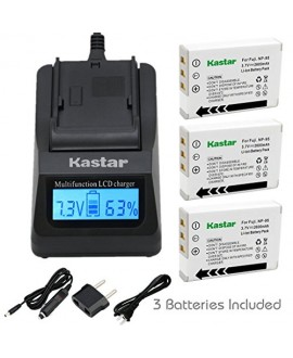 Kastar Fast Charger + Battery (3-Pack) for Fujifilm NP-95 & Finepix F30, Finepix F31FD, Finepix Real 3D W1, Finepix X30, Finepix X100, Finepix X100T, Finepix X100LE, Finepix X100S, Finepix X-S1 Camera