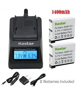 Kastar Ultra Fast Charger(3X faster) Kit and Battery (2-Pack) for GoPro HERO4 and GoPro AHDBT-401, AHBBP-401 Sport Cameras [Over 3x faster than a normal charger with portable USB charge function]