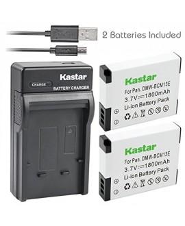 Kastar Battery (X2) & Slim USB Charger for Panasonic DMW-BCM13 BCM13PP and Lumix DMC-FT5 DMC-LZ40 DMC-TS5 TS6 DMC-TZ37 TZ40 TZ41 DMC-TZ55 DMC-TZ60 DMC-ZS27 DMC-ZS30 DMC-ZS35 DMC-ZS40 DMC-ZS45 DMC-ZS50