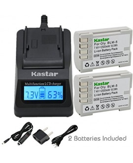 Kastar Ultra Fast Charger(3X faster) Kit and Battery (2-Pack) for Olympus BLM-5, PS-BLM5 work with Olympus C-8080 C-7070 C-5060 E1 E3 E5 E300 E330 E500 E510 E520 Digital Cameras [Over 3x faster than a normal charger with portable USB charge function]