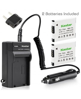 Kastar Battery (X2) & AC Travel Charger for Canon NB-11L and PowerShot SX410 IS SX400 IS ELPH 170 IS 340 HS 320 HS 130HS 110 HS 1150 HS A2300 IS A2400 IS A2500 A2600 A3400 IS A3500 IS A4000 Cameras