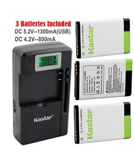 Kastar BL-5C Battery (3-Pack) and intelligent mini travel Charger ( with high speed portable USB charge function) for NOKIA 1100,2112,2270,2280,2285,2300,2600,2850,3100,3105,3120,3600,3620,3650,3660,5140,6108,6280,5030,5130,6030,6085,6086,6230,6230i,6267,