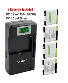 Kastar G14 / BG58100 Battery (4-Pack) and intelligent mini travel Charger ( with high speed portable USB charge function) for HTC G14, HTC BG58100, HTC EVO 3D (Fits BG86100), HTC Sensation, HTC Amaze, HTC MyTouch 4G Slide, HTC Sensation XE, HTC Sensation