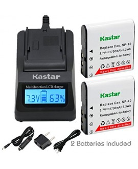Kastar Ultra Fast Charger(2X faster) Kit and CNP-40 Battery (3-Pack) for Kodak LB-060 AZ521 AZ361 AZ501 AZ522 AZ362 AZ526 and HP D3500 SKL-60 V5060H V5061U Cameras