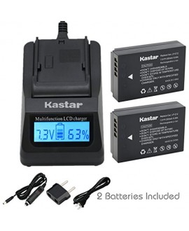 Kastar Ultra Fast Charger Kit and Battery (2-Pack) for Canon LP-E12 work with Canon EOS M, EOS Rebel SL1, EOS 100D Cameras [Over 3x faster than a normal charger with portable USB charge function]