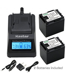Kastar Fast Charger + BP-819 Battery (2X) for Canon VIXIA HF10, HF11, HF20, HF21, HF100, HF200, HF G10, HF M30, M31, M32, M40, M41, M300, M400, HF S10, S11, S20, S21, S30, S100, S200, HG20, HG21, XA13