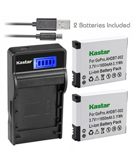 Kastar Battery (X2) & SLIM LCD Charger for GoPro AHDBT-001, AHDBT-002 work with GoPro HD HERO1, HERO2, GoPro Original HD HERO Cameras