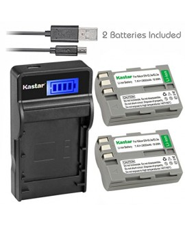 Kastar Battery (X2) & SLIM LCD Charger for Nikon EN-EL3e, ENEL3E, EN-EL3a, EN-EL3, MH-18, MH-18a and Nikon D50, D70, D70s, D80, D90, D100, D200, D300, D300S, D700 Cameras