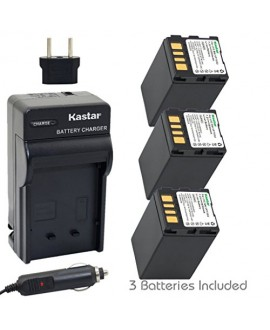 Kastar Battery (3-Pack) and Charger Kit for JVC BN-VF733 and JVC GR-D245, GR-D246, GR-D247, GR-D250, GR-D253, GR-D270, GR-D271, GR-D275, GR-D290, GR-D293, GR-D295, GR-D370, GR-D371, GR-D375, GR-D390, GR-D393, GR-D395, GR-D396, GR-D450, GR-D570, GR-D645, G