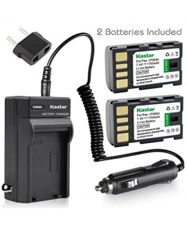 Kastar Battery (X2) & Travel Charger Kit for JVC BN-VF808, BN-VF808U, BNVF808 and JVC Everio GZ-MG130 148 150 155 175 255 275 575 GZ-HD7 GR-D745 746 750 760 770 771 775 790 796 JVC MiniDV + More