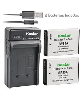 Kastar Battery (X2) & Slim USB Charger for Samsung EA-BP85A EA-BP85A/E Samsung BP85A Samsung EC-SH100ZBPBUS EC-SH100ZBPRUS EC-SH100ZBPSUS Samsung PL210 Samsung SH100 Samsung ST200 ST200F Samsung WB210