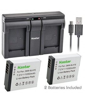 Kastar BLH7E 2x Battery + USB Dual Charger for Panasonic DMW-BLH7 DMW-BLH7E DMW-BLH7PP work with Panasonic Lumix DMC-GM1 DMC-GM1K DMC-GM5 DMC-GF7 Cameras