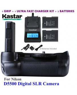 Kastar Pro Multi-Power Vertical Battery Grip + 2x EN-EL14 EN-EL4a Replacement Batteries + Ultra Fast Charger Kit for Nikon D5500 Digital SLR Camera