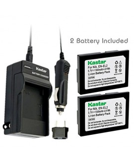 Kastar Battery (2-Pack) and Charger Kit for Nikon EN-EL2 work with Nikon Coolpix 2500, Nikon Coolpix 3500, Nikon Coolpix SQ500 Digital Cameras