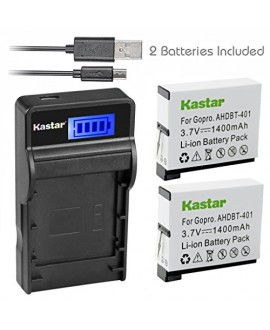 Kastar Battery (X2) & SLIM LCD Charger for GoPro HERO4 and GoPro AHDBT-401, AHBBP-401 Sport Cameras