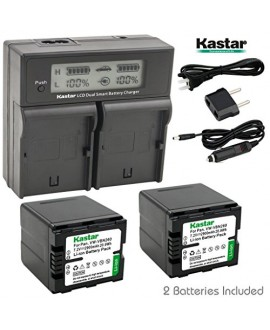 Kastar LCD Dual Smart Fast Charger & 2 x Battery for Panasonic VW-VBN260 and Panasonic HC-X800, HC-X900, HC-X900M, HC-X910, HC-X920, HC-X920M, HDC-HS900, HDC-SD800, HDC-SD900, HDC-TM900 Camcorder