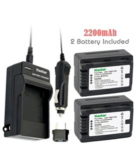 Kastar Battery (2-Pack) and Charger Kit for Panasonic VW-VBK180 work with Panasonic HC-V10, HC-V100, HC-V100M, HC-V500, HC-V500M, HC-V700, HC-V700M, HDC-HS60, HDC-HS80, HDC-SD40, HDC-SD60, HDC-SD80, HDC-SD90, HDC-SDX1H, HDC-TM40, HDC-TM41, HDC-TM55, HDC-T