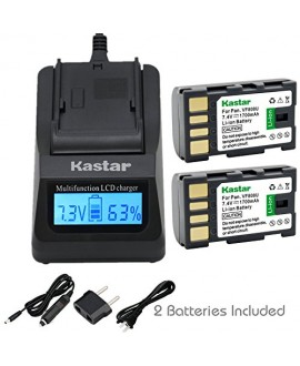 Kastar Fast Charger Kit and BN-VF808 Battery (2-Pack) for JVC BN-VF808U, BN-VF815, BN-VF815U, BN-VF823, BN-VF823U and JVC MiniDV, Everio GZ-MG130, 155, 255, GZ-MG555 and other specified camcorder