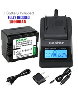 Kastar Ultra Fast Charger(3X faster) Kit and Battery (1-Pack) for Panasonic VW-VBN130 and Panasonic HC-X800 HC-X900 HC-X900M HC-X910 HC-X920 HC-X920M HDC-HS900 HDC-SD800 HDC-SD900 HDC-TM900 Cameras