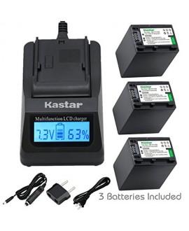 Kastar Fast Charger + NP-FV100 Battery (3X) for Sony DCR-SR21, SR68, SR88, SX15, SX21, SX44, SX45, SX63, SX65, SX83, SX85, HDR-CX110, CX115, CX130, CX150, CX160, XR160, CX360, CX560, CX700, PJ30, PJ50