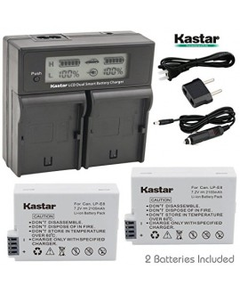 Kastar LCD Dual Smart Fast Charger & 2 x Battery for Canon LP-E8, LPE8 and Canon Rebel T5, T2i, T3i, T4I, T5i, 700D, 650D, Kiss X5, Kiss X4, Kiss X6i, kISS X7i EOS 550D 600D Digital SLR Cameras