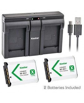 Kastar NP-BX1 2x Battery + USB Dual Charger for Sony Cyber-shot DSC-HX50V HX300 DSC-RX1 DSC-RX1R RX100 RX100 II DSC-RX100M II DSC-RX100 III DSC-RX100M3 WX300 HDR-AS10 AS15 AS30V AS100V AS100VR CX240