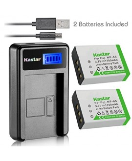 Kastar Battery (X2) & LCD Slim USB Charger for Fujifilm NP-85, BC-85, FNP85, NP85 and Fujifilm FinePix S1, FinePix SL240, FinePix SL260, FinePix SL280, FinePix SL300, FinePix SL305, FinePix SL1000