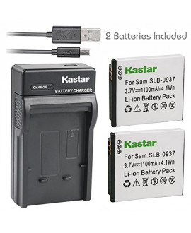 Kastar Battery (X2) & Slim USB Charger for Samsung SLB-0937 SLB0937 0937 Battery, Samsung Digimax L830, Samsung Digimax L730, Samsung Digimax i8 Digital Cameras