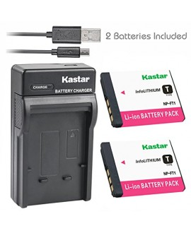 Kastar Battery (X2) & Slim USB Charger for Sony NP-FT1 DSC-L1 DSC-M1 DSC-M2 DSC-T1DSC-T3 DSC-T3/B DSC-T3S DSC-T5 DSC-T5/B DSC-T5/NDSC-T5/R DSC-T9 DSC-T10 DSC-T10/B DSC-T10/P DSC-T10/W DSC-T11 DSC-T33