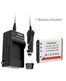Kastar CNP110 Battery (1-Pack) + Charger for Casio NP-110, NP110 and Casio Exilim EX-FC200S, EX-Z2000, EX-Z3000, EX-ZR10, EX-ZR15, EX-ZR20 Camera